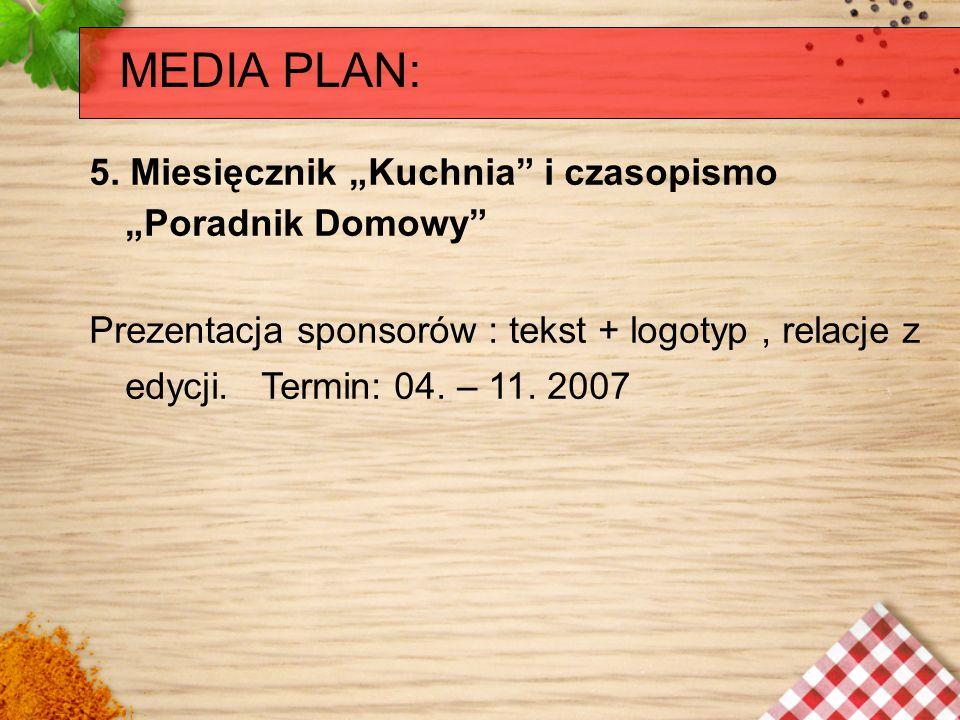 """MEDIA PLAN: 5. Miesięcznik """"Kuchnia i czasopismo """"Poradnik Domowy"""