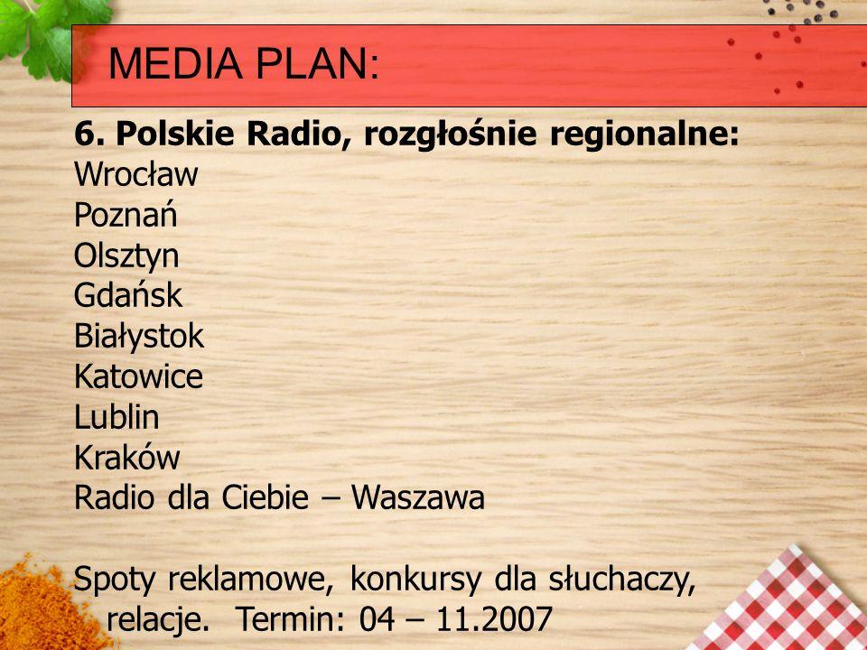 MEDIA PLAN: 6. Polskie Radio, rozgłośnie regionalne: Wrocław Poznań