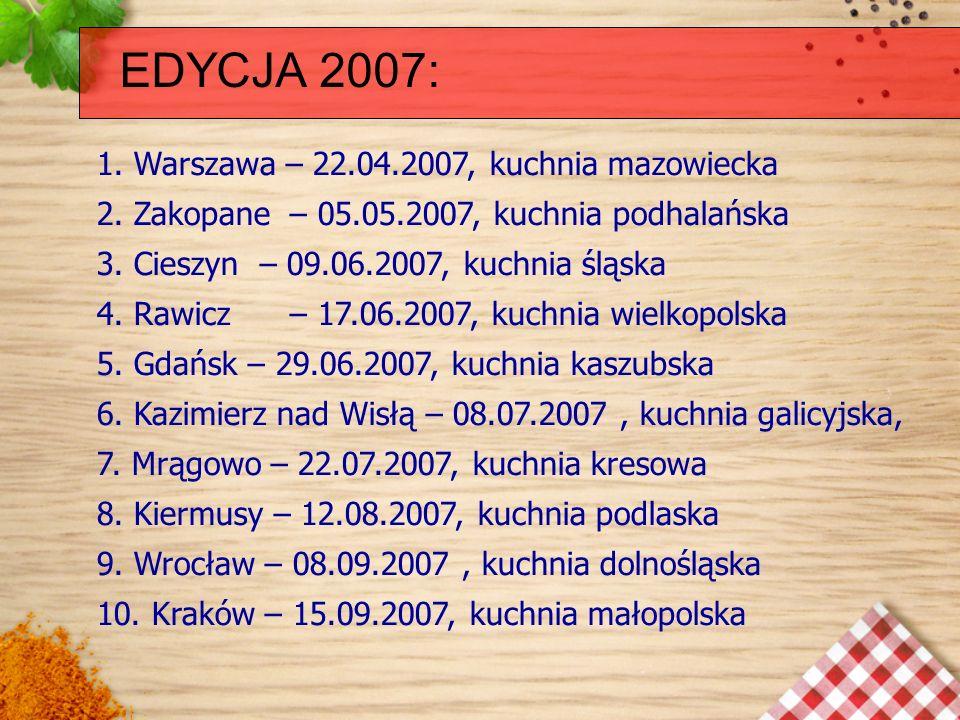 EDYCJA 2007: 1. Warszawa – 22.04.2007, kuchnia mazowiecka