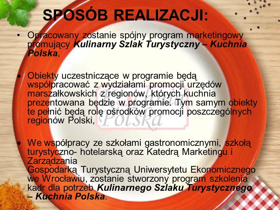 SPOSÓB REALIZACJI: Opracowany zostanie spójny program marketingowy promujący Kulinarny Szlak Turystyczny – Kuchnia Polska,