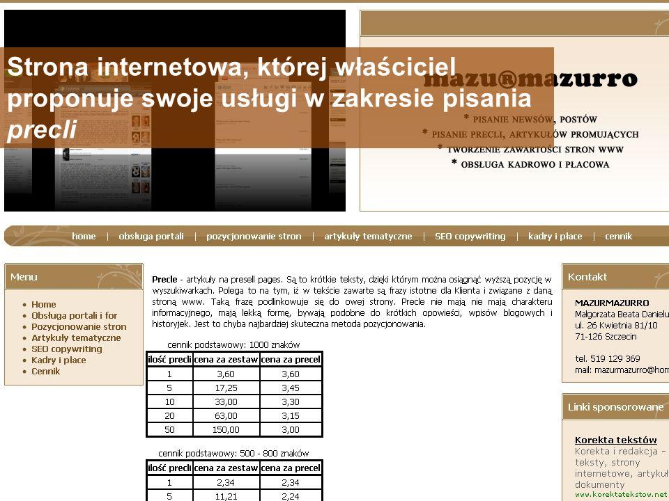 Strona internetowa, której właściciel proponuje swoje usługi w zakresie pisania precli