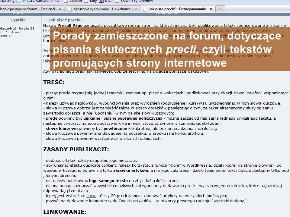 Porady zamieszczone na forum, dotyczące pisania skutecznych precli, czyli tekstów promujących strony internetowe