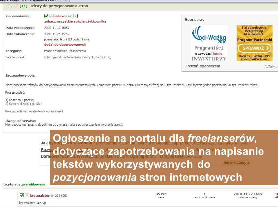 Ogłoszenie na portalu dla freelanserów, dotyczące zapotrzebowania na napisanie tekstów wykorzystywanych do pozycjonowania stron internetowych