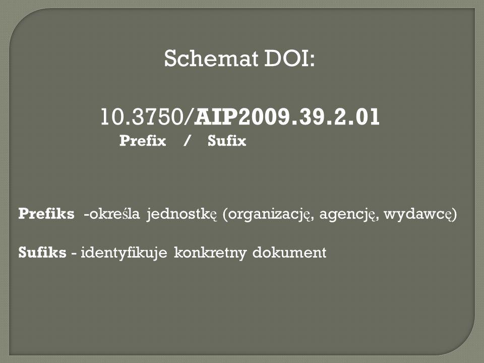 Schemat DOI: 10.3750/AIP2009.39.2.01. Prefix / Sufix. Prefiks -określa jednostkę (organizację, agencję, wydawcę)