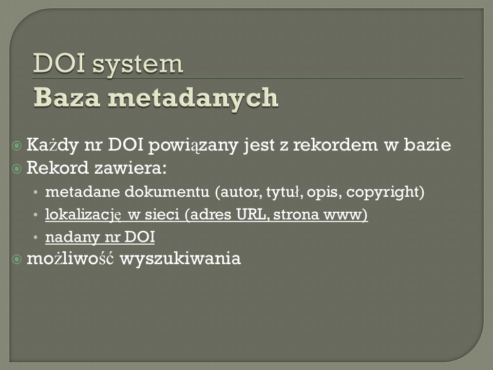 DOI system Baza metadanych