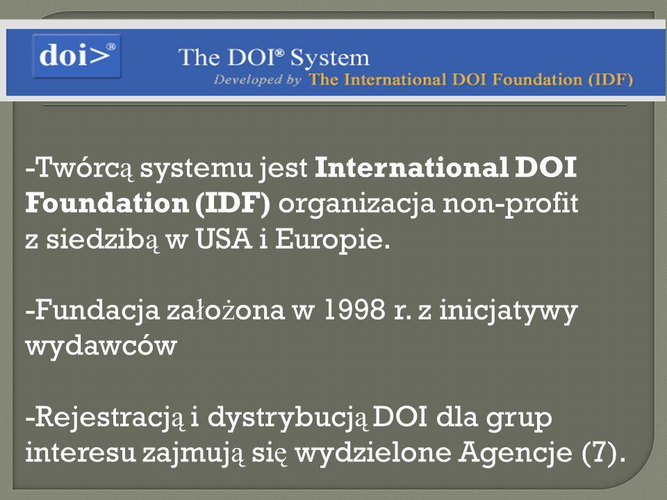 Twórcą systemu jest International DOI Foundation (IDF) organizacja non-profit