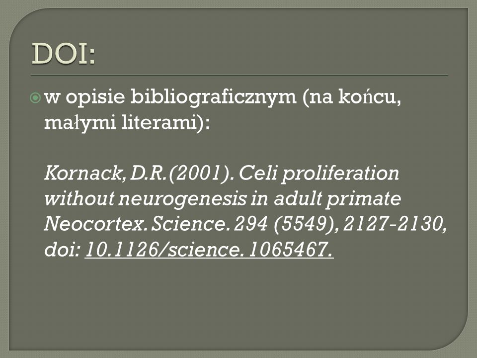 DOI: w opisie bibliograficznym (na końcu, małymi literami):