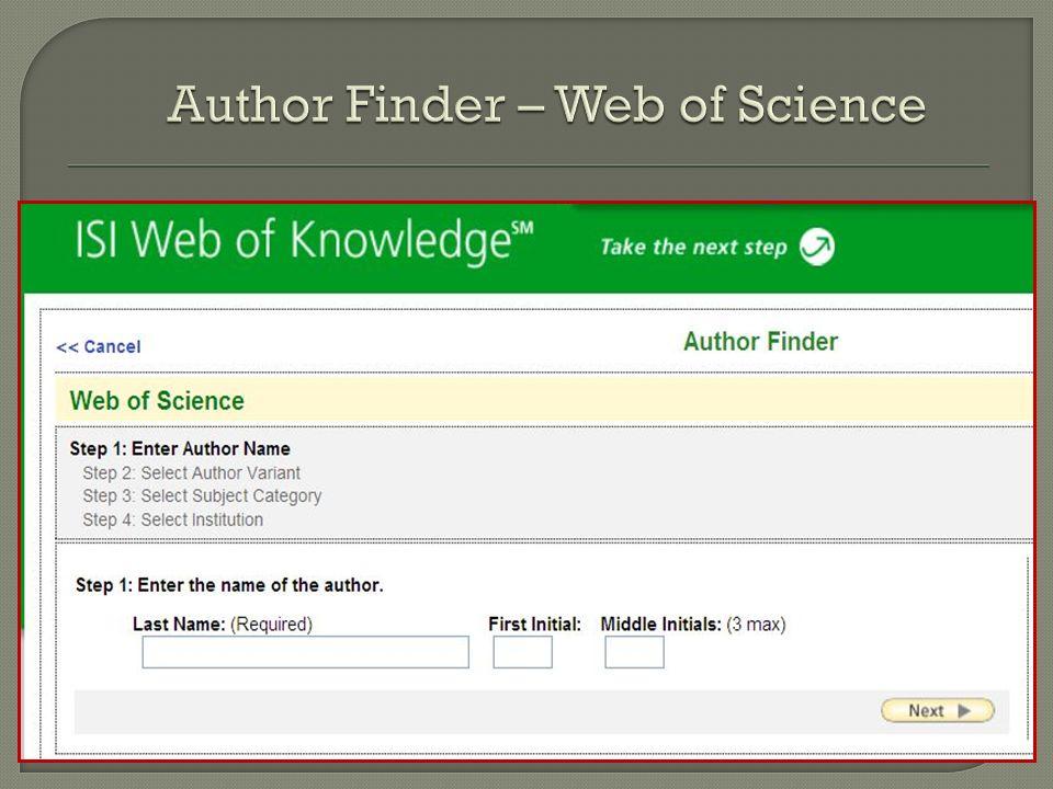 W bazach danych: Narzędzie niezbędne, choć niedoskonałe AuthorFinder w bazach Web of Science Author Finder – Web of Science