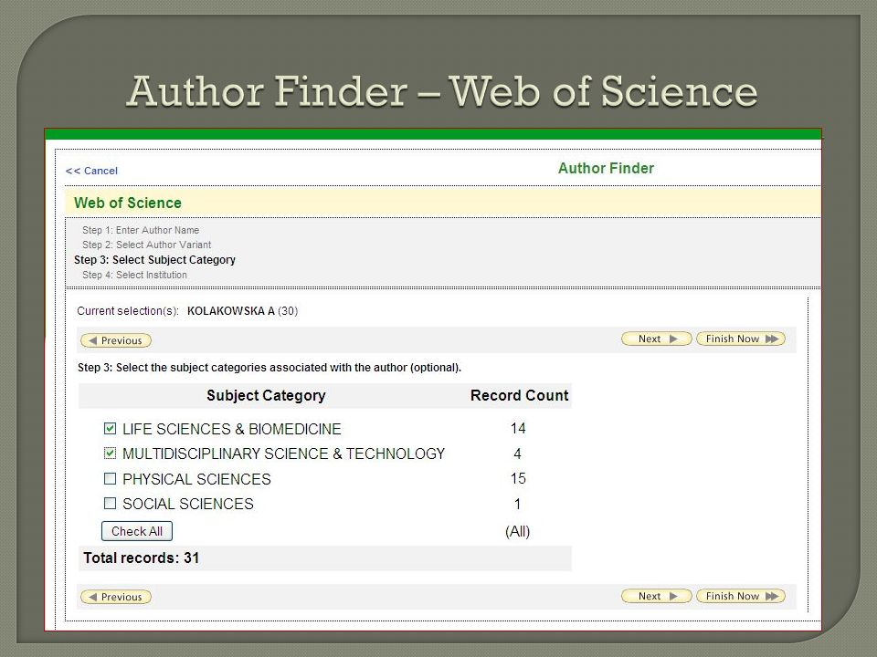 Author Finder – Web of Science