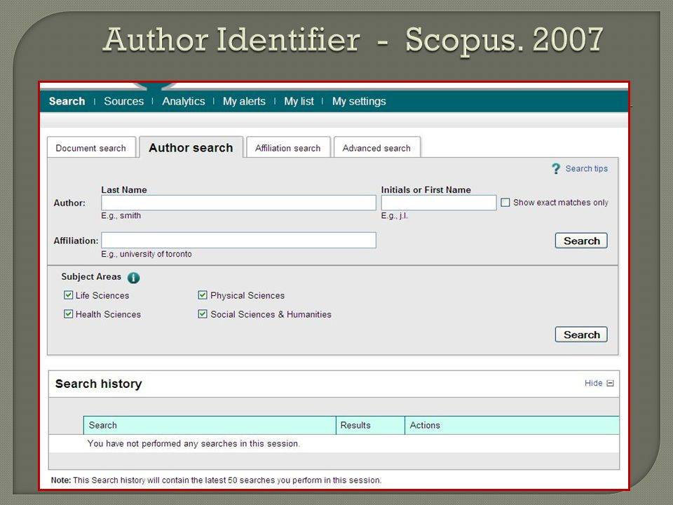 Author Identifier - Scopus. 2007