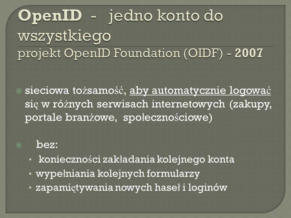 OpenID - jedno konto do wszystkiego projekt OpenID Foundation (OIDF) - 2007