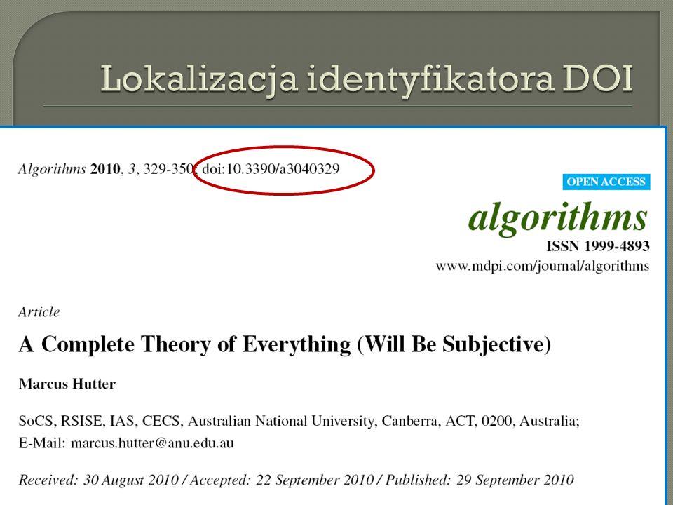 Lokalizacja identyfikatora DOI