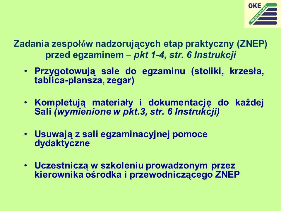 Zadania zespołów nadzorujących etap praktyczny (ZNEP) przed egzaminem – pkt 1-4, str. 6 Instrukcji