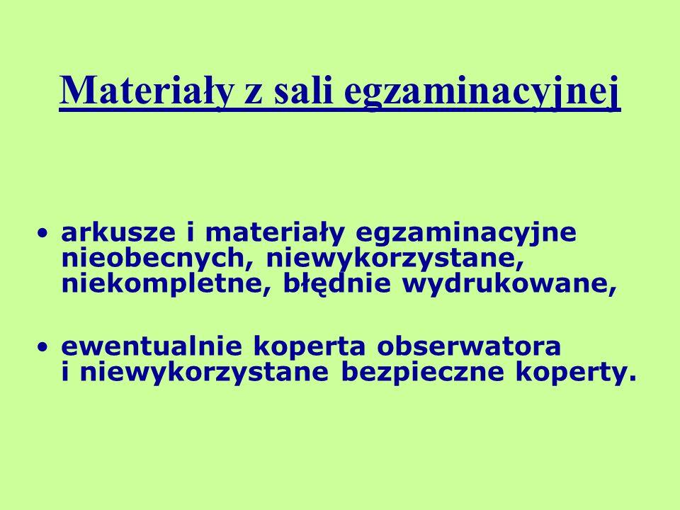 Materiały z sali egzaminacyjnej