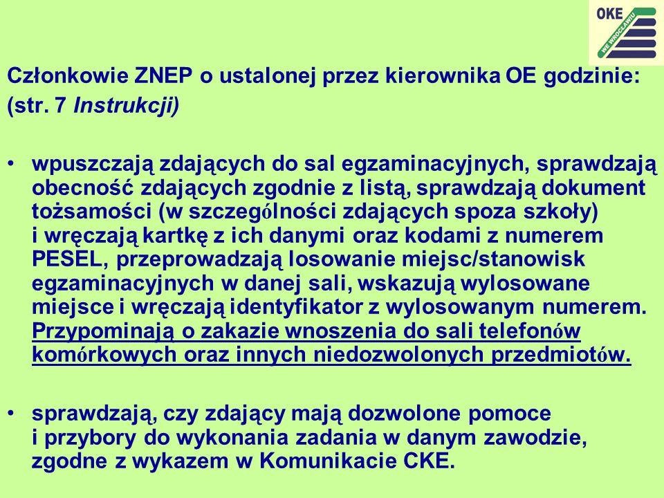 Członkowie ZNEP o ustalonej przez kierownika OE godzinie: