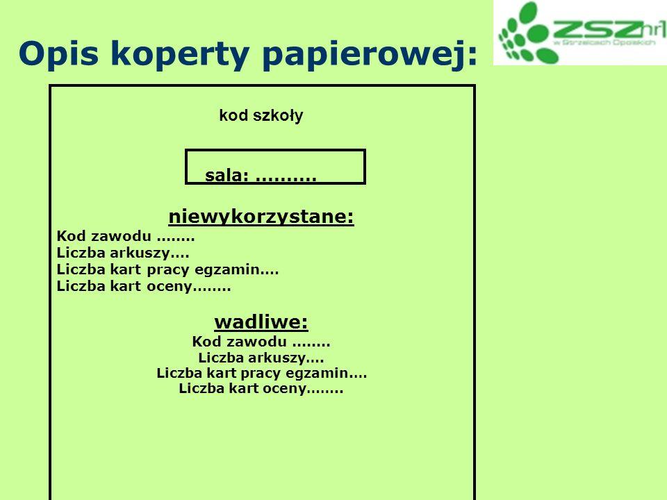 Opis koperty papierowej: