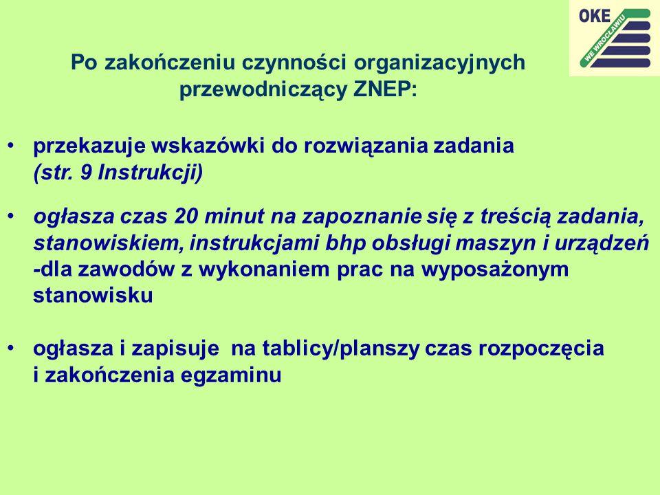 Po zakończeniu czynności organizacyjnych przewodniczący ZNEP: