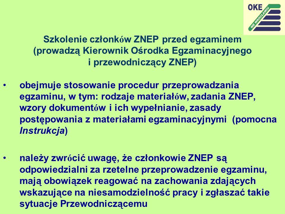 Szkolenie członków ZNEP przed egzaminem (prowadzą Kierownik Ośrodka Egzaminacyjnego i przewodniczący ZNEP)
