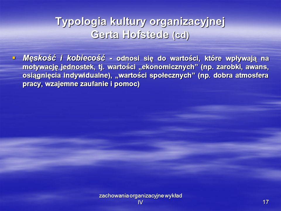 Typologia kultury organizacyjnej Gerta Hofstede (cd)