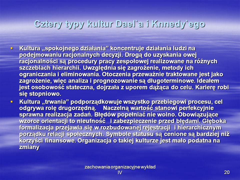 Cztery typy kultur Dael`a i Knnedy`ego