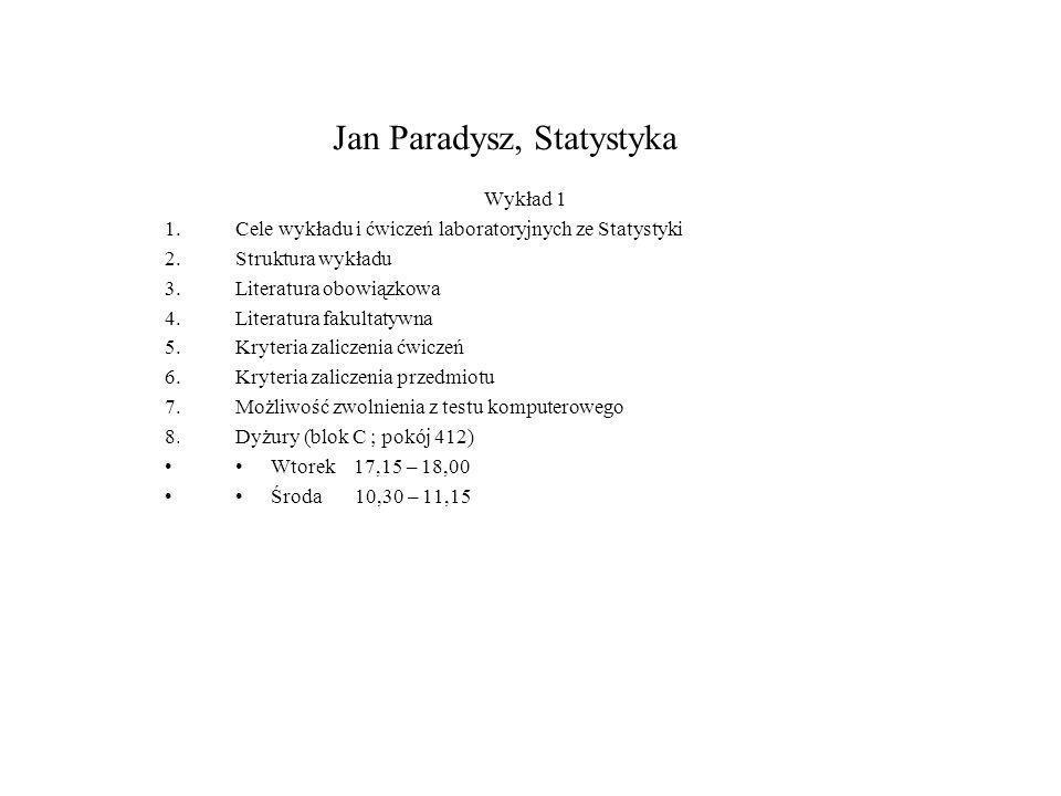 Jan Paradysz, Statystyka
