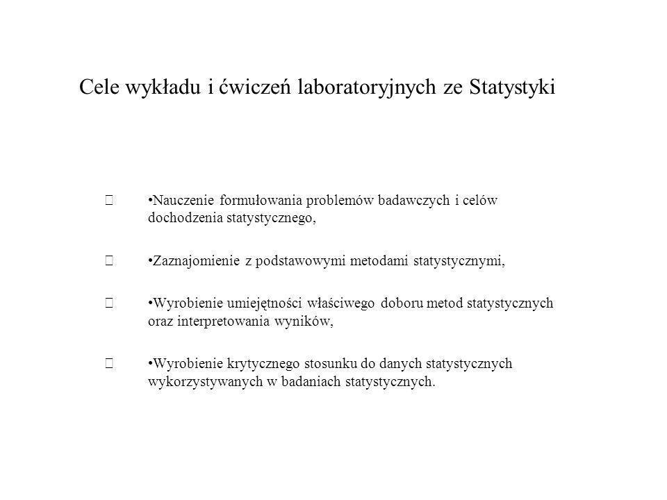 Cele wykładu i ćwiczeń laboratoryjnych ze Statystyki