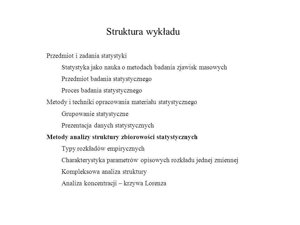 Struktura wykładu Przedmiot i zadania statystyki