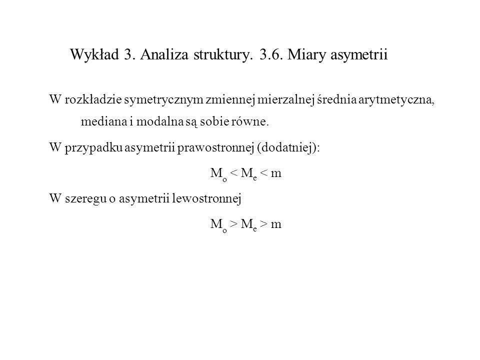 Wykład 3. Analiza struktury. 3.6. Miary asymetrii