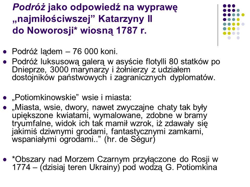 """Podróż jako odpowiedź na wyprawę """"najmiłościwszej Katarzyny II do Noworosji* wiosną 1787 r."""