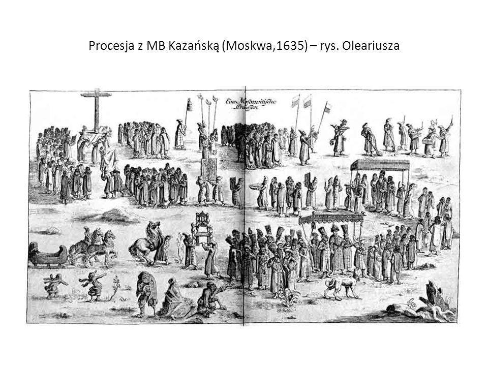 Procesja z MB Kazańską (Moskwa,1635) – rys. Oleariusza