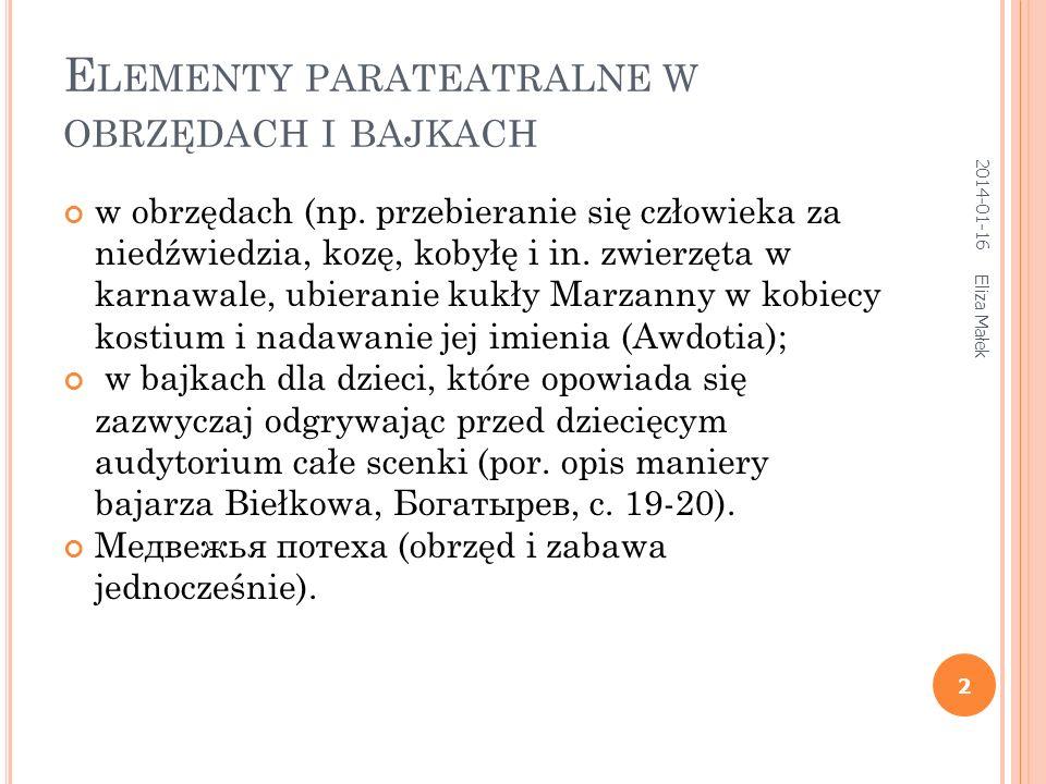 Elementy parateatralne w obrzędach i bajkach