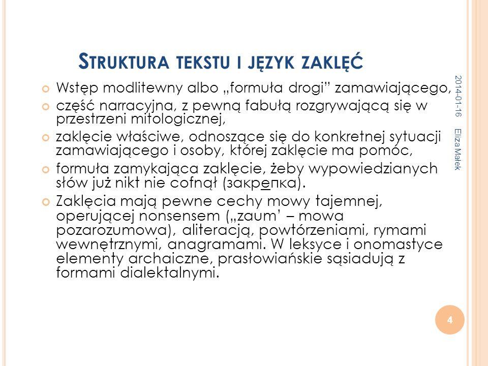 Struktura tekstu i język zaklęć