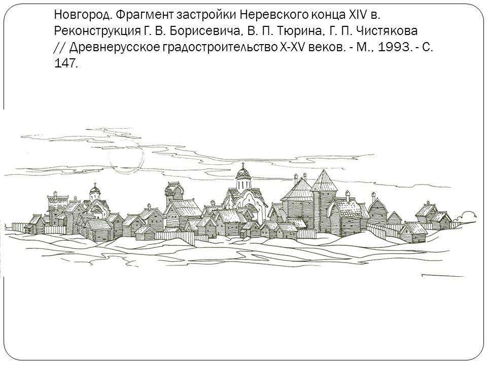 Новгород. Фрагмент застройки Неревского конца XIV в.