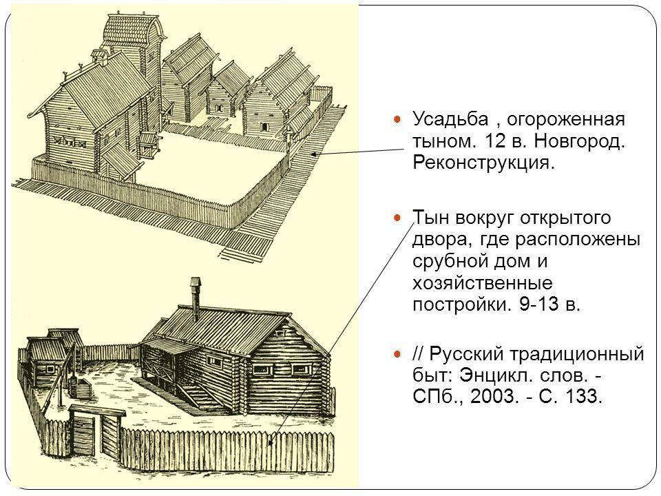 Усадьба , огороженная тыном. 12 в. Новгород. Реконструкция.