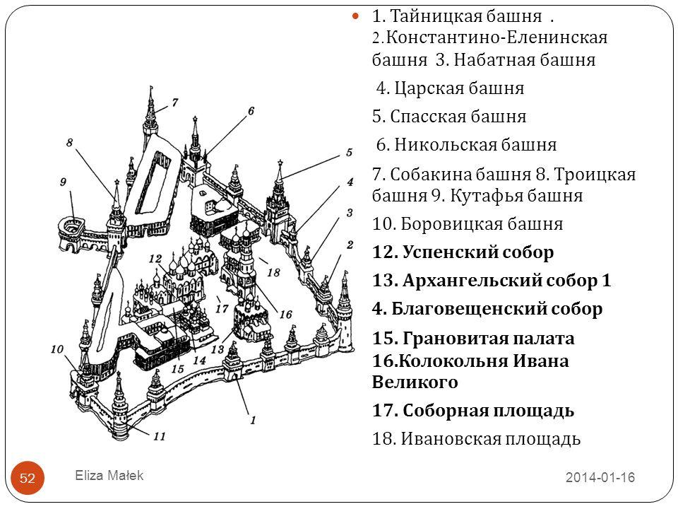 1. Тайницкая башня . 2.Константино-Еленинская башня 3. Набатная башня