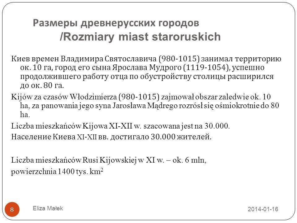Размеры древнерусских городов /Rozmiary miast staroruskich