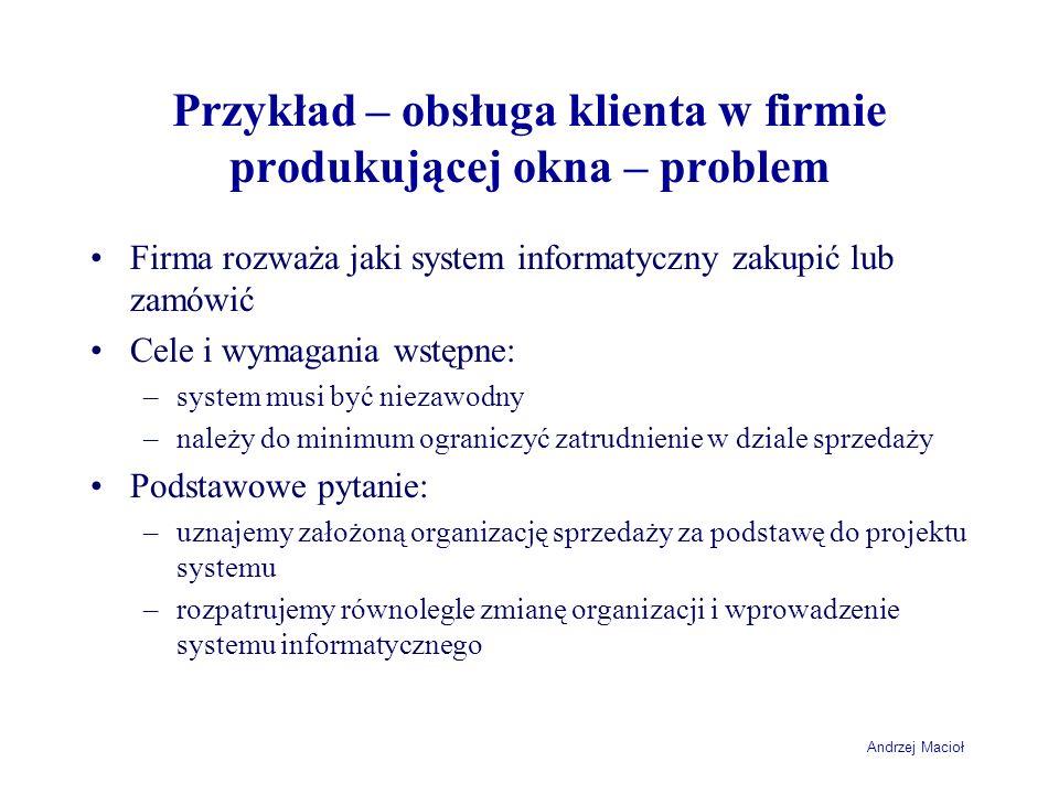 Przykład – obsługa klienta w firmie produkującej okna – problem