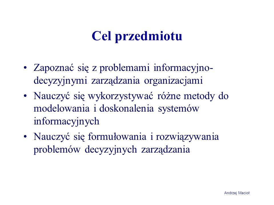 Cel przedmiotuZapoznać się z problemami informacyjno-decyzyjnymi zarządzania organizacjami.