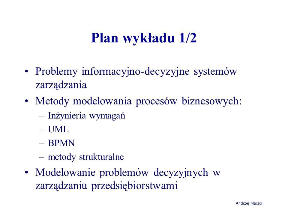 Plan wykładu 1/2 Problemy informacyjno-decyzyjne systemów zarządzania