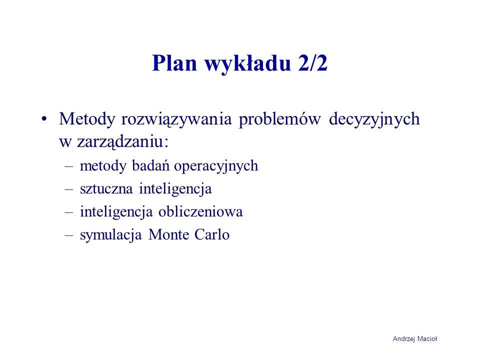 Plan wykładu 2/2 Metody rozwiązywania problemów decyzyjnych w zarządzaniu: metody badań operacyjnych.