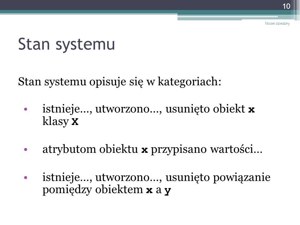 Stan systemu Stan systemu opisuje się w kategoriach: