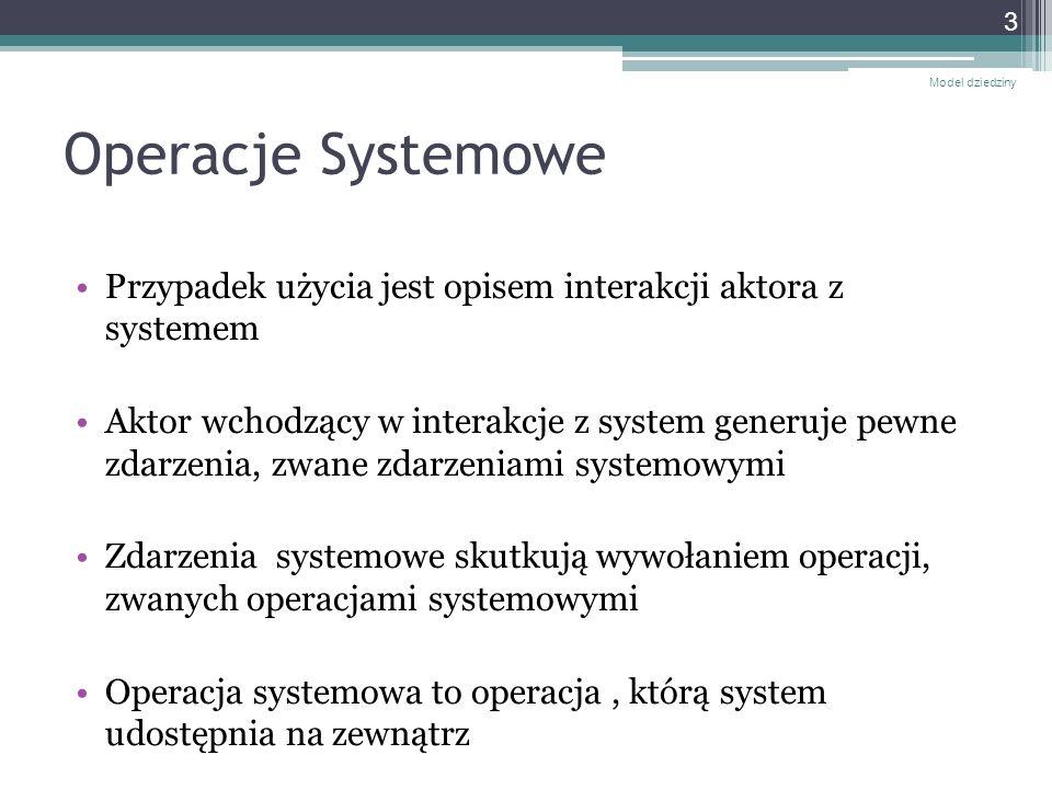 Model dziedzinyOperacje Systemowe. Przypadek użycia jest opisem interakcji aktora z systemem.