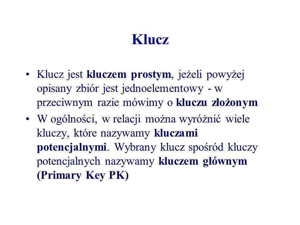 Klucz Klucz jest kluczem prostym, jeżeli powyżej opisany zbiór jest jednoelementowy - w przeciwnym razie mówimy o kluczu złożonym.