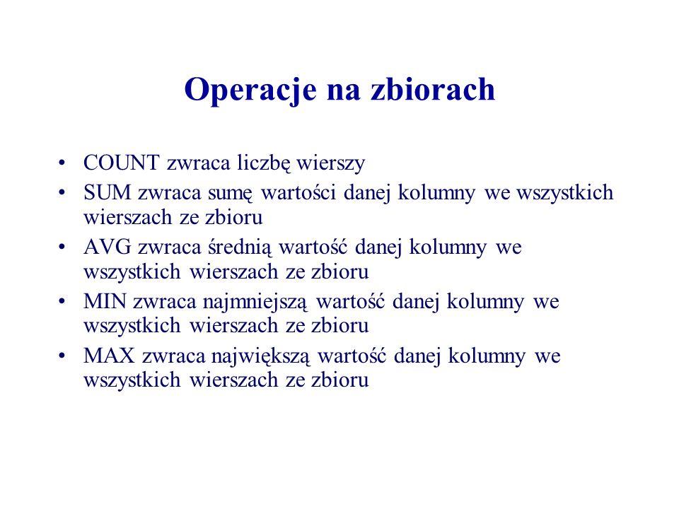 Operacje na zbiorach COUNT zwraca liczbę wierszy