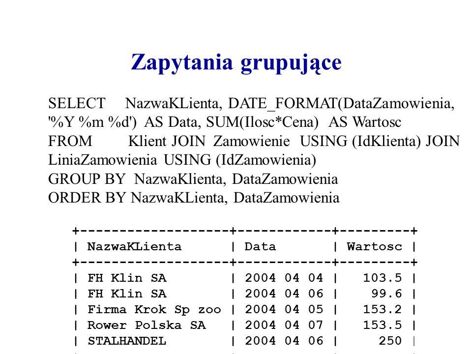 Zapytania grupująceSELECT NazwaKLienta, DATE_FORMAT(DataZamowienia, %Y %m %d ) AS Data, SUM(Ilosc*Cena) AS Wartosc.