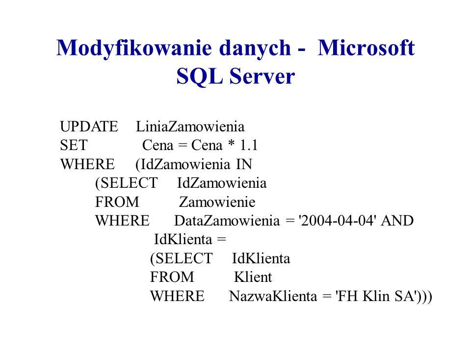 Modyfikowanie danych - Microsoft SQL Server