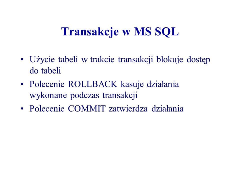 Transakcje w MS SQL Użycie tabeli w trakcie transakcji blokuje dostęp do tabeli. Polecenie ROLLBACK kasuje działania wykonane podczas transakcji.