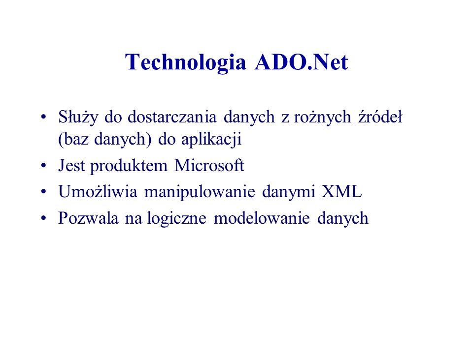 Technologia ADO.Net Służy do dostarczania danych z rożnych źródeł (baz danych) do aplikacji. Jest produktem Microsoft.