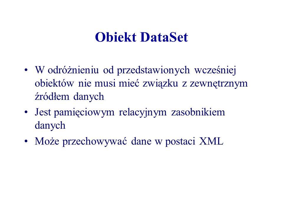 Obiekt DataSetW odróżnieniu od przedstawionych wcześniej obiektów nie musi mieć związku z zewnętrznym źródłem danych.