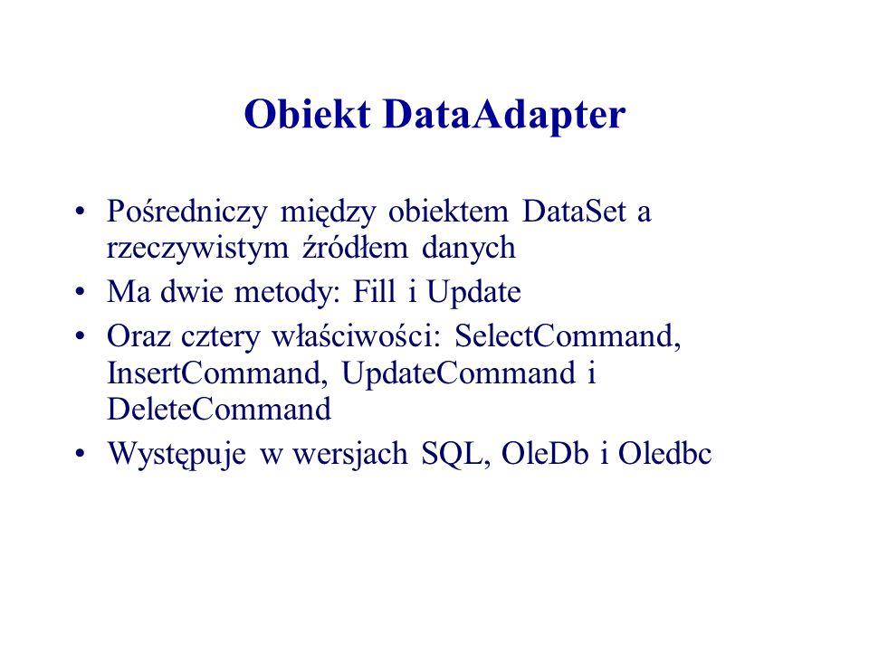 Obiekt DataAdapter Pośredniczy między obiektem DataSet a rzeczywistym źródłem danych. Ma dwie metody: Fill i Update.